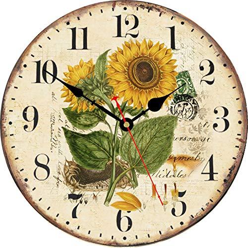 TAHEAT 34 cm Hermosa Girasol Reloj de Pared, Clásico País Floral Silencio Sin tictac Relojes De Madera Redondo Legible Reloj de Pared para Cocina/ Sala de Estar/ Cuarto/ Baño