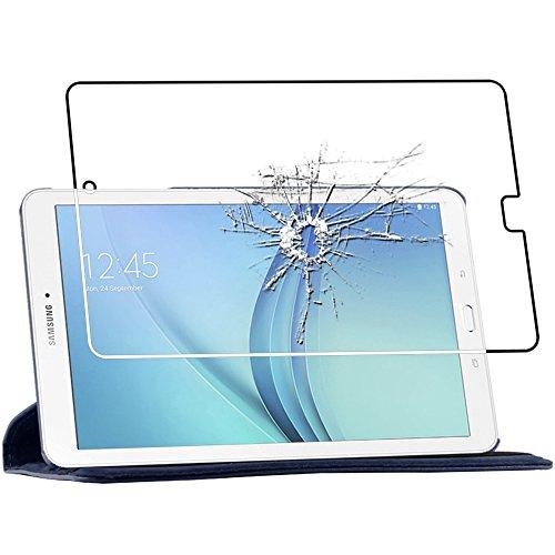 ebestStar - Cover Compatibile con Samsung Galaxy Tab E 9.6 T560, T561 Custodia Protezione Pelle PU con Supporto Rotazione 360, Blu Scuro + Vetro Temperato [Apparecchio: 241.9x149.5x8.5mm 9.6'']