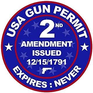 USA Gun Permit 2nd Amendment Sticker Decal 2a Gun Rights FA Vinyl - 4.00 Wide