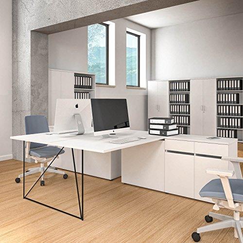 2er Team-Schreibtisch AIR mit integrierten Sideboards Gruppenarbeitsplatz Bench Doppel-Arbeitsplatz, Gestellfarbe:Schwarz