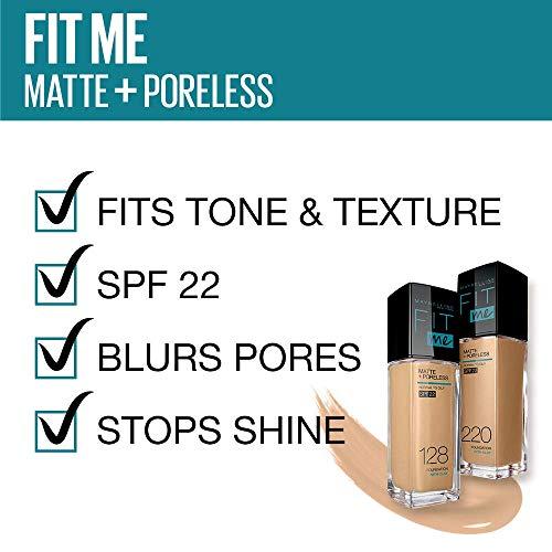 Maybelline New York Fit Me Matte+Poreless Liquid Foundation Tube, 128 Warm Nude, 18ml