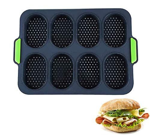 Mini Baguette Baking Tray, 11 x 9.5In Non-stick Perforated Pan Bread Crisping Sheet Loaf Muffin Mould French-bread Breadstick & Rolls with Delicious Crispy Crusts Kitchen Baking Tools (Black)