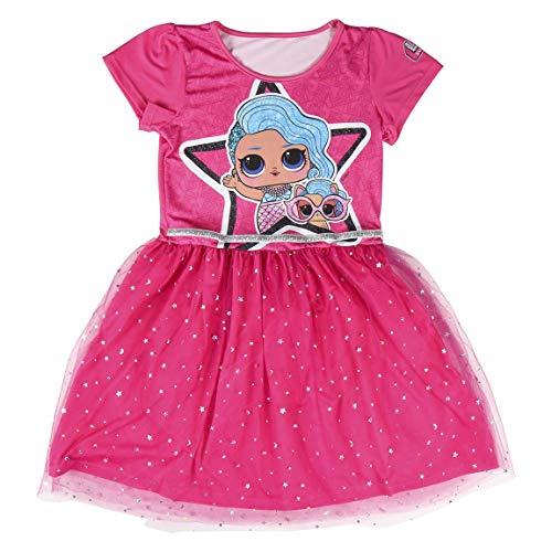 L.O.L. Surprise! Vestido para Niñas, Falda Tul Tutú Ballet Brillante 3D, Vestido Manga Corta Verano Princesa, Fiesta de Cumpleaños, Regalo para Niñas, 5 a 12 Años