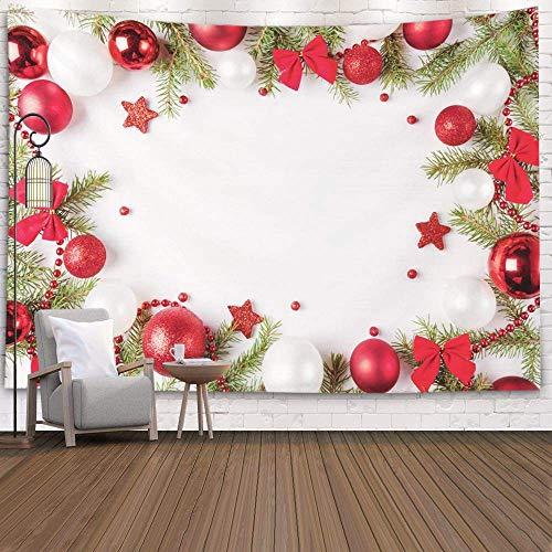 Tapices Deacutecor Sala de Estar Dormitorio para el hogar Inhouse de Printed for Christmas Light Frame Decorado con Lazos Rojos y Blancos Ramas de Abeto Espacio para copiar en el Centro, Negro Gris