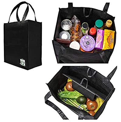 Take It EZ Reusable Grocery Bag with Built in Partition to Keep Hot & Cold Foods Separate and Keep Fragile Grocery Items Protected (2 Pack)