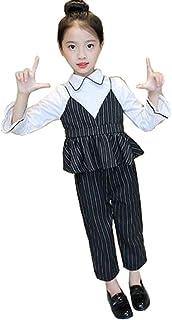 TRVELBETT韓国子供服 女の子 フォーマル 上下2点セット 長袖トップス パンツ ボーダー柄 子供 発表会 スーツ 女の子 パンツ 卒業式 パンツスーツ 女の子 重ね着風 レイヤード キッズ セットアップ 入学式 子供服 女の子