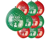Unique Party - Globos de Látex de Feliz Navidad - 23 cm - Color Rojo y Verde -...