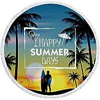 ラウンドビーチタオル大人の子供のためのマイクロファイバー熱帯ココナッツツリー大規模な夏のシャワースイミングタオル 150 センチメートル旅行ピクニックマット