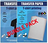 PPD Inkjet Bundle Iron-On Dark T Shirt Transfers Paper LTR 8.5x11' pack of 10 Sheets + PPD Silicon Papers for T Shirt Transfer Iron or Heat Press - 10 Sheets