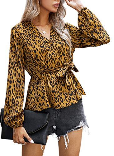 CORAFRITZ Sudadera de manga larga con cuello en V y estampado de leopardo, de gran tamaño, suelta, informal,...