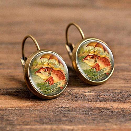 AMINIY Glass Cabochon Earrings Wild Animal Comics Fish Owl Bee Earrings Fashion Art Earrings Handmade Jewelry (Color : 6)