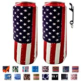 ZSYKD 2pcs Slim Beer Can Cooler Sleeve, Foldable Stubby Holders Beer Cooler Bags Fits 12oz Slim cans Energy Drink & Beer,12oz RedBull,Michelob Ultra,Truly Red Bull,White Claw
