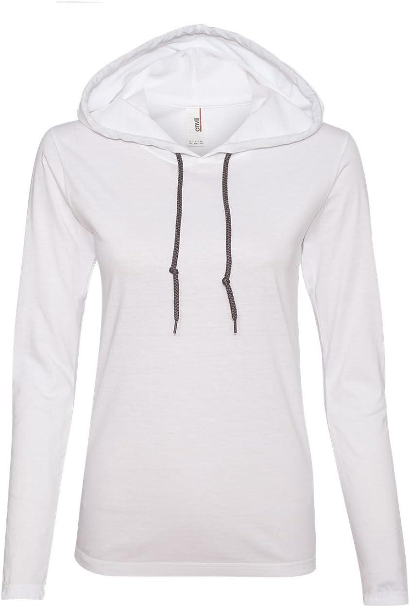Anvil 887L Ladies' Lightweight Long-Sleeve Cotton Hooded Tee