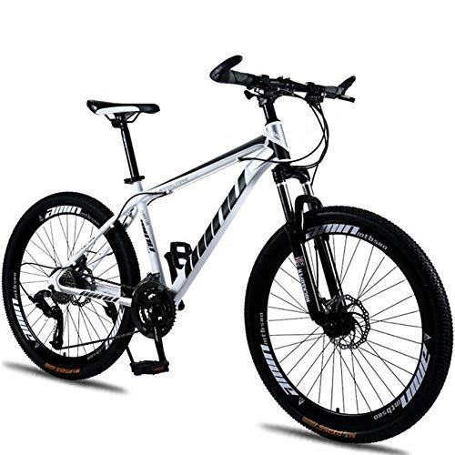 Mountain Bike Men's Women's 26' Inch Red Spoke Wheel Carbon Alloy Mountain Bike 2 x Disc Brake Front Suspension
