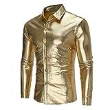 LZJDS Camisa para hombre, ropa de discoteca, chaqueta brillante, informal, manga larga, disfraz de escenario, dorado, XL