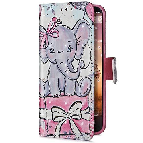 Uposao Kompatibel mit Samsung Galaxy J6 Plus 2018 Handyhülle Handy Tasche Glitzer Bling Glänzend mit Bunt Muster Motiv Schutzhülle Flip Case Klapphülle Leder Hülle Standfunktion,Elefant