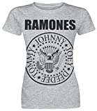 Ramones Seal Mujer Camiseta Gris/Melé XL, 90% algodón, 10% poliéster, Regular