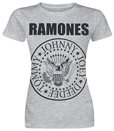 Ramones Seal Mujer Camiseta Gris/Melé M, 90% algodón, 10% poliéster, Regular