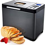 【19 Automatic Programs& Knead Dough and Gluten Free Settings】 KBS Bread Machine has 19 programs to choose from (QUICK BREAD, SWEET BREAD, FRENCH, WHOLE-WHEAT, GLUTEEN FREE, JAM, YOGURT, etc.). 3 Loaf Sizes (1 / 1.5 / 2LB), 3 Crust Colors (Light / Med...