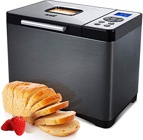 KBS Automatic Bread Machine, 2LB Stainless Steel Bread Maker with 19 Menus, Non-stick Ceramic Pan, 3 Loaf Sizes& 3 Crust Colors, 15 Hours Delay& 1 Hour Keep Warm, Knead Dough and Gluten Free Settings