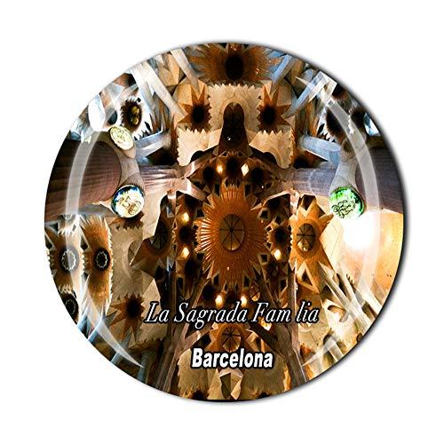 Time Traveler Go La Sagrada Família Barcelona Spanien 3D-Kühlschrankmagnet, Souvenir, Geschenk, Heim-Küchendekoration, Magnetaufkleber