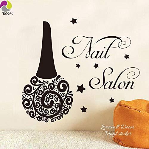 Muurstickers voor nagellak, nagelstudio, fles, wandsticker, schoonheid, nagellak, spa, cosmetica, ramen, wandlamp, wanddecoratie, vinyl, oranje, 56 cm x 49 cm, cooldeerydm