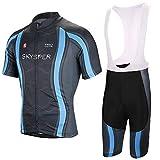 SKYSPER Completo da Ciclismo Uomo, Abbigliamento da Ciclismo Estivo Maglia Maniche Corte +...
