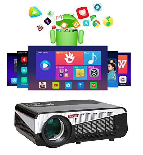 Gzunelic Real 7500 lumens Android WiFi Projector Real Native1080p Video Projector LCD LED Full HD Theater Proyector with Bluetooth Wireless Mirror to Smart Phone by Airplay or Miracast Ideal for Home