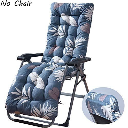 wide smile Sun Lounger Cushions Pad Leaf Print Lounge Chair Cushion Portable Garden Patio Thick Padded Bed Recliner Relaxer Bench Seat Cover for Travel Holiday Indoor Outdoor Grey(No Chair)