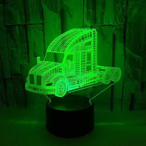 Luz de noche de 3Dcamión Lámpara de ilusión 3D Multicolor con control remoto para sala de estar Bar Habitación Juguetes de regalo Regalo perfectos para niño