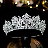 Jorsnovs Elegant Bridal Tiaras and Crowns Real Platinum Plating Cubic Zirconia Wedding Hair Accessories CZ Crystal Party Prom Hair Jewelry Headpieces