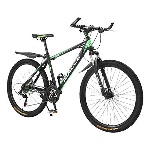 ALK7 Mountain Bike 26in Carbon Steel Mountain Bike 24 Speed Bicycle Full Suspension MTB (Green)