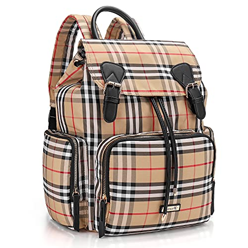 Diaper Bag Backpack, Hafmall Baby Diaper Bag with Stroller Hooks for Mom Dad, Multifunctional Nappy Bag for Boys Girls, Stylish Travel Mommy Bag (Plaid)