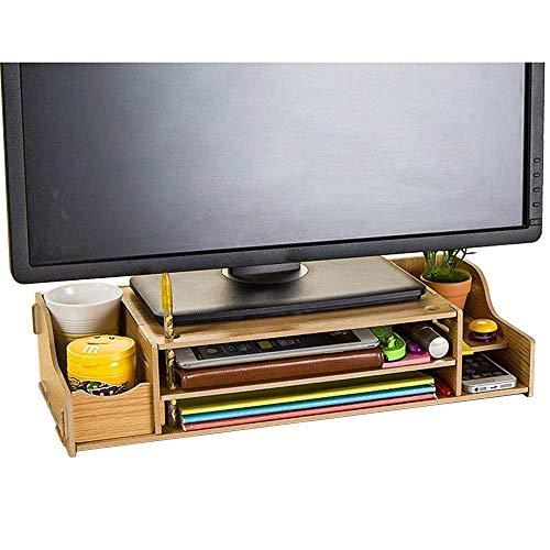 Home-NeatBürobedarf DIY Holz Computer Monitor ständer Riser höhenverstellbar Bildschirmständer Desktop Organizer Ständer 48 x 20 cm