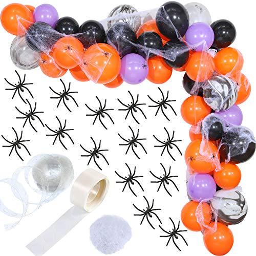 Gejoy Halloween Palloncini in Lattice Palloncini Viola Nero Arancione Arco con Ragnatela Halloween e 24 Pezzi Ragni di Plastica di Halloween Decorazione