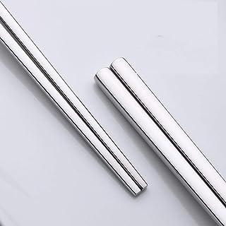 10 pares de palillos chinos de acero inoxidable, palillos chinos de aleación reutilizables, palillos antideslizantes cuadr...
