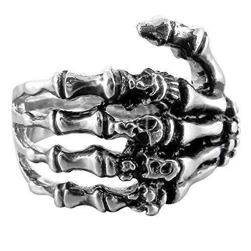 MunkiMix Acero Inoxidable Anillo Ring Banda Venda El Tono De Plata Negro Cráneo Calavera Mano Hand Hueso Talla Tamaño 20 Hombre