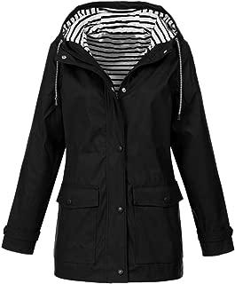 iHHAPY Women's Raincoat Hooded Jacket Raincoat Sailing Jacket Outdoors Weather Jacket Striped Lining Waterproof Oversize