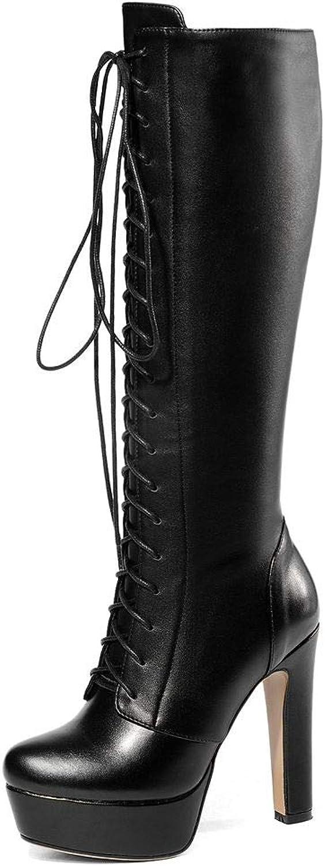 SaraIris Women's Genuine Leather Platform Block Heel Lace up Knee High Boots