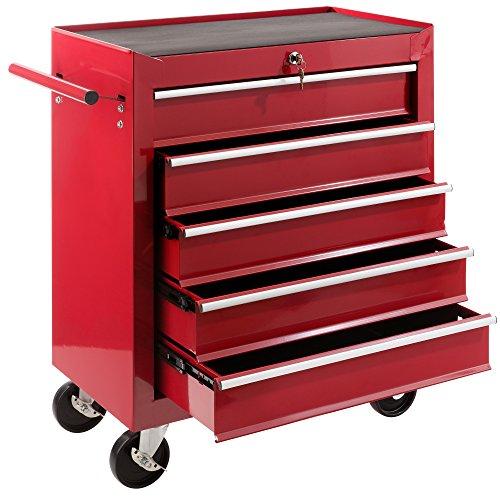 Arebos Werkstattwagen 5 Fächer/zentral abschließbar/Anti-Rutschbeschichtung/Räder mit Feststellbremse/Massives Metall/rot, blau oder schwarz (rot)