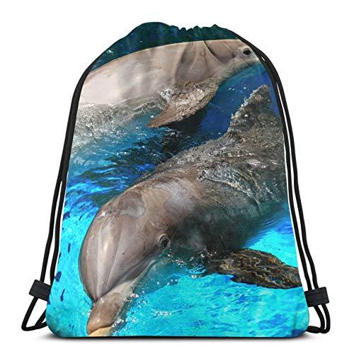 Sea Pool Dolphin Couple Unisex Kordelzug Rucksack Tasche Polyester Cinch Sack Wasserdicht Sport Gym Bag Casual Daypack für Frauen