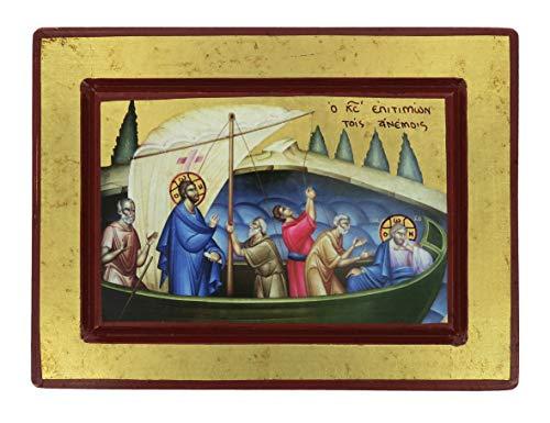 Ferrari & Arrighetti Icona Gesù e Discepoli - Tempesta sedata, Produzione Greca su Legno (20 x 15 cm)