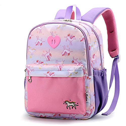 Backpack for Little Girls Boys, Cute Lightweight Water Resistant Preschool Primary School Toddler Leash Backpack Small for Kindergarten Unicorn Dinosaur Pink Blue (Pink)