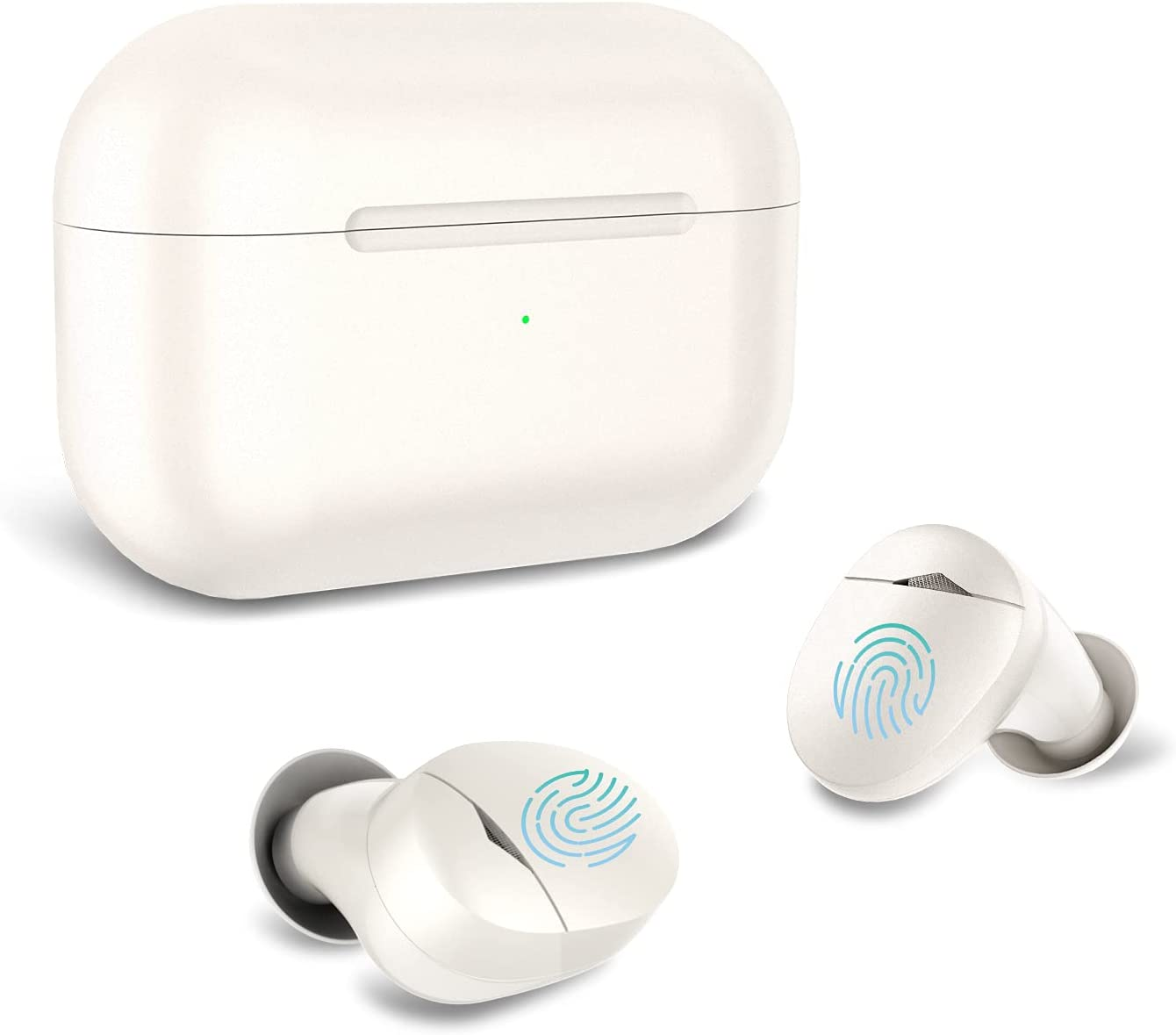 Cirtek True Wireless Earbuds - Bluetooth 5.0 Headphones with Charging Case, Touch Control, Built-in Call Mic, and Deep Bass Sound Waterproof TWS Stereo Earphones for Work, Sport (White)