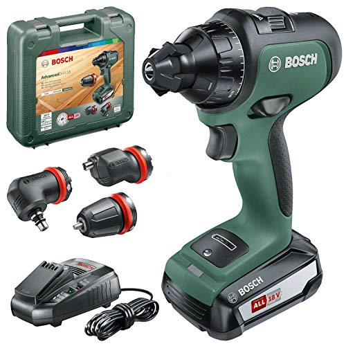 Bosch Cordless Drill AdvancedDrill 18 (1 x Battery, 18 V System, 3 Drill Attachments, in a Carrying Case)
