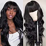Body Wave Wigs With Bangs Virgin Brazilian None LaceFront Wigs Human Hair Wigs 130% Density Glueless Machine Made Wigs For Black Women Natural Black (20 Inch, Body Wave)
