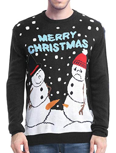 Men's Christmas Holiday Snowman Themed Ugly Sweater Cute Pullover (Happy and Sad - Black)