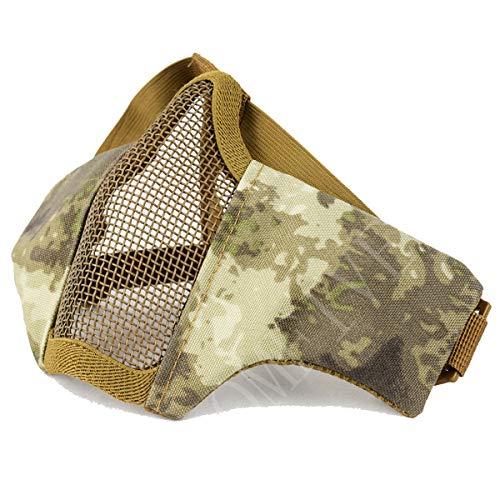 QMFIVE Tactical Maske, Stahl Halbmaske und verstellbare elastische Band Faltbare Half Face Maske Schutzmaske Maske für Airsoft Paintball CS(A TACS)