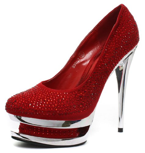Krasceva Red Rhinestone Double Platform Women Stiletto Heels