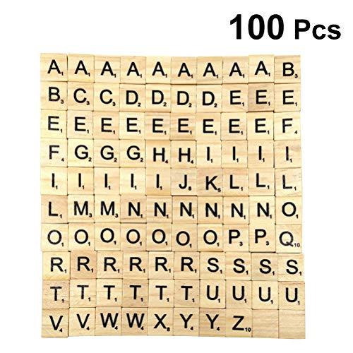 Supvox 100 stücke Holzbuchstaben Fliesen Englisch Buchstaben Puzzle Holz Kinder Früherziehung Brief Spiel Holzblock Chips
